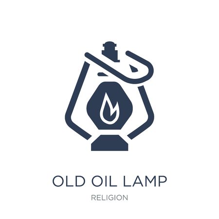 Old Oil Lamp icon. Trendy flat vector Old Oil Lamp icon on white background from Religion collection, vector illustration can be use for web and mobile, eps10 Illustration
