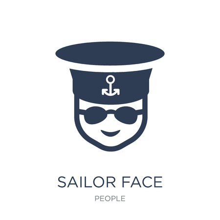 Sailor face icon. Trendy flat vector Sailor face icon on white background from People collection, vector illustration can be use for web and mobile, eps10 Illustration