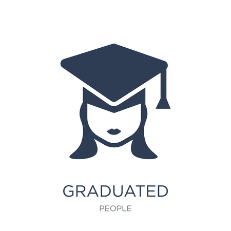 Graduated icon. Trendy flat vector Graduated icon on white background from People collection, vector illustration can be use for web and mobile, eps10 Çizim