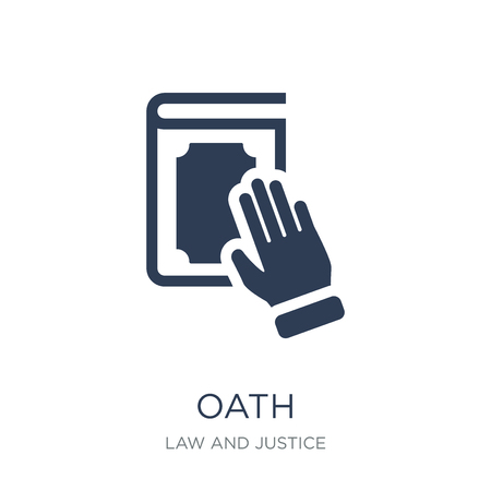 Oath icon. Trendy flat vector Oath icon on white background from law and justice collection, vector illustration can be use for web and mobile, eps10 Çizim