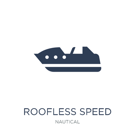 Roofless Speed Boat icon. Trendy flat vector Roofless Speed Boat icon on white background from Nautical collection, vector illustration can be use for web and mobile, eps10