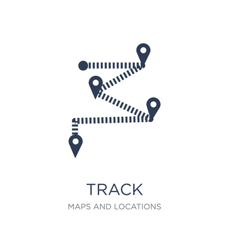 Track icon. Trendy flat vector Track icon on white background from Maps and Locations collection, vector illustration can be use for web and mobile, eps10 Illustration