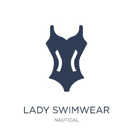 Lady Swimwear icon. Trendy flat vector Lady Swimwear icon on white background from Nautical collection, vector illustration can be use for web and mobile, eps10 Illustration