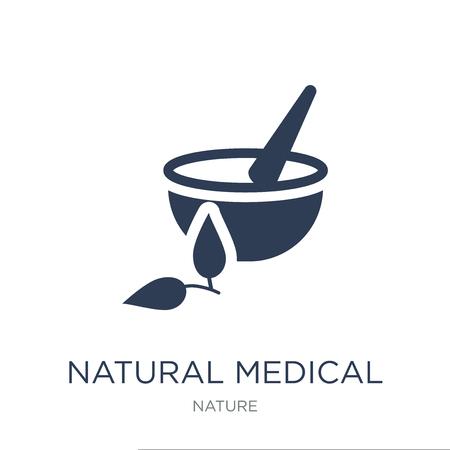 ikona naturalne pigułki medyczne. Modny płaski wektor naturalne pigułki medyczne ikona na białym tle z kolekcji przyrody, ilustracji wektorowych można używać dla sieci web i mobile, eps10