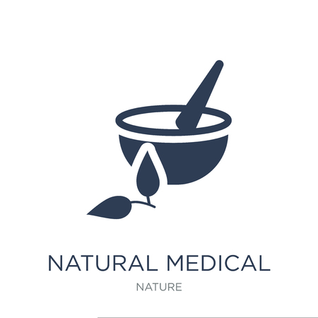 natural medical pills icon. Trendy flat vector natural medical pills icon on white background from nature collection, vector illustration can be use for web and mobile, eps10 Reklamní fotografie - 112320850