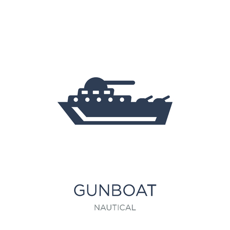 gunboat icon. Trendy flat vector gunboat icon on white background from Nautical collection, vector illustration can be use for web and mobile, eps10 Ilustração