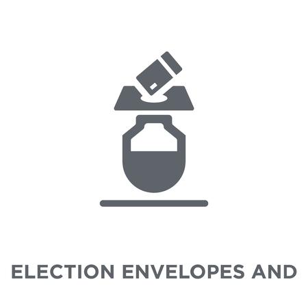 Enveloppes électorales et icône de la boîte. Enveloppes électorales et concept de design de boîte de la collection politique. Illustration vectorielle élément simple sur fond blanc.