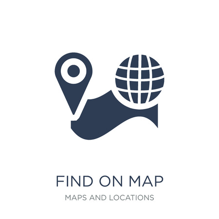 Find On Map icon. Trendy flat vector Find On Map icon on white background from Maps and Locations collection, vector illustration can be use for web and mobile, eps10
