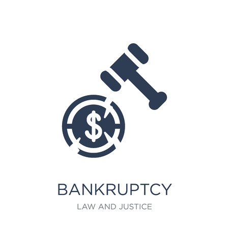 bankruptcy icon. Trendy flat vector bankruptcy icon on white background from law and justice collection, vector illustration can be use for web and mobile, eps10 Banque d'images - 111309581
