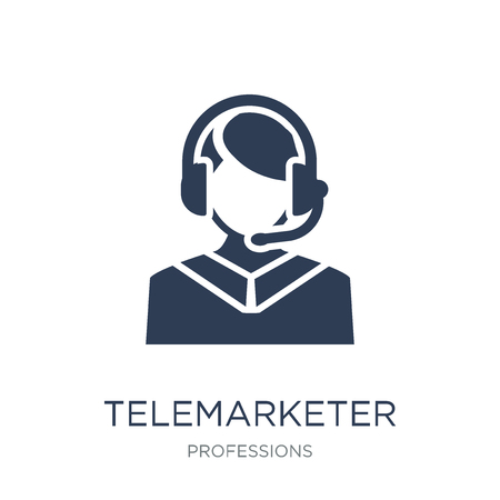 Telemarketer icon. Trendy flat vector Telemarketer icon on white background from Professions collection, vector illustration can be use for web and mobile, eps10 矢量图像