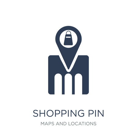 Shopping Pin icon. Trendy flat vector Shopping Pin icon on white background from Maps and Locations collection, vector illustration can be use for web and mobile, eps10 Ilustração