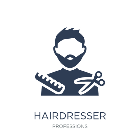 Hairdresser icon. Trendy flat vector Hairdresser icon on white background from Professions collection, vector illustration can be use for web and mobile, eps10