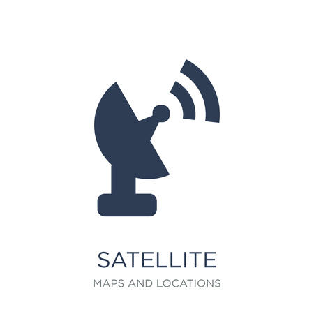 Satellite Signal icon. Trendy flat vector Satellite Signal icon on white background from Maps and Locations collection, vector illustration can be use for web and mobile, eps10