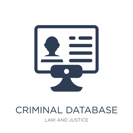 Criminal database icon. Trendy flat vector Criminal database icon on white background from law and justice collection, vector illustration can be use for web and mobile, eps10