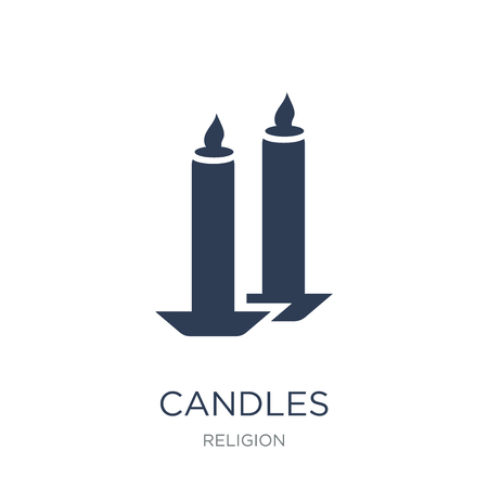 Candles icon. Trendy flat vector Candles icon on white background from Religion collection, vector illustration can be use for web and mobile, eps10