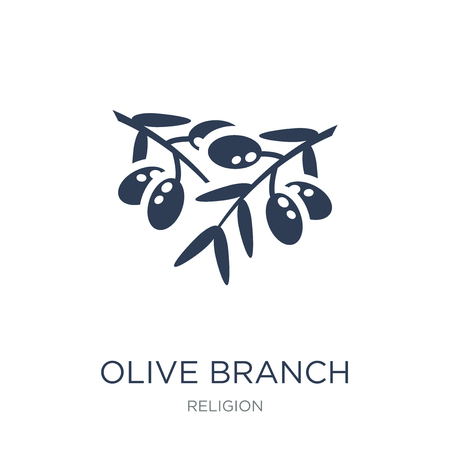 Olive Branch icon. Trendy flat vector Olive Branch icon on white background from Religion collection, vector illustration can be use for web and mobile, eps10 Ilustrace
