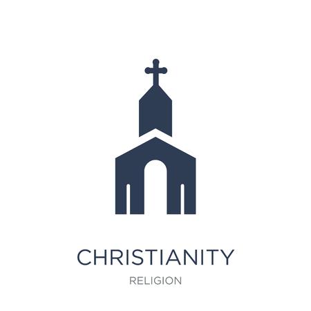 Icône du christianisme. Icône de christianisme vecteur plat sur fond blanc de la collection Religion, illustration vectorielle peut être utilisé pour le web et mobile, eps10