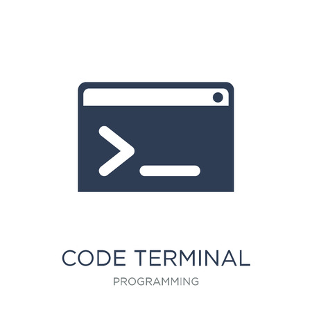 Code terminal icon. Trendy flat vector Code terminal icon on white background from Programming collection, vector illustration can be use for web and mobile, eps10 Ilustração