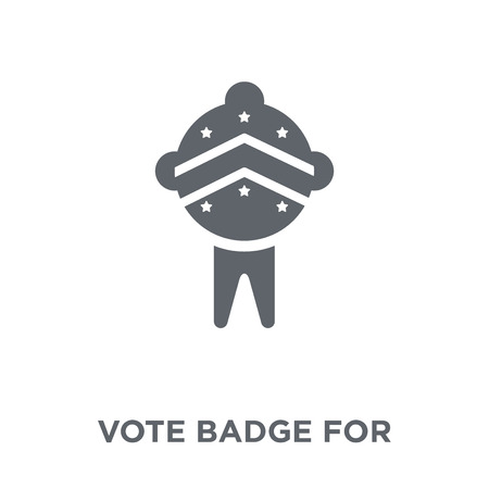 Insigne de vote pour l'icône des élections politiques. Insigne de vote pour le concept de conception d'élections politiques de la collection politique. Illustration vectorielle élément simple sur fond blanc. Vecteurs