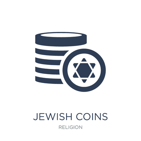Jewish Coins icon. Trendy flat vector Jewish Coins icon on white background from Religion collection, vector illustration can be use for web and mobile, eps10 Banque d'images - 112372337