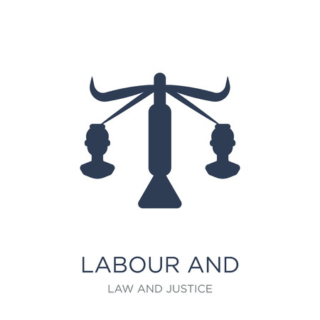 labour and social law icon. Trendy flat vector labour and social law icon on white background from law and justice collection, vector illustration can be use for web and mobile, eps10