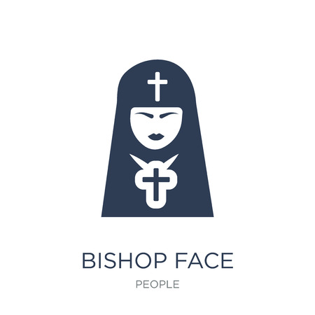 Bishop face icon. Trendy flat vector Bishop face icon on white background from People collection, vector illustration can be use for web and mobile, eps10 Standard-Bild - 112373499