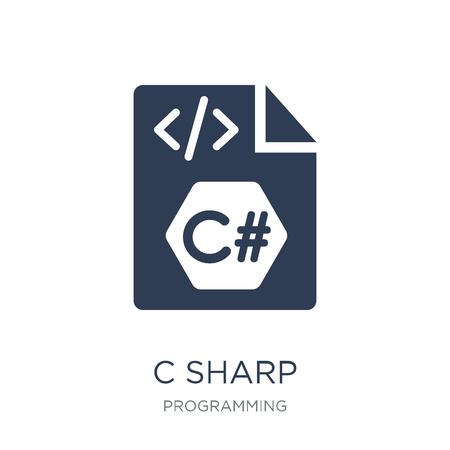 C scherp pictogram. Trendy platte vector C scherp pictogram op witte achtergrond uit programmering collectie, vectorillustratie kan worden gebruikt voor web en mobiel, eps10
