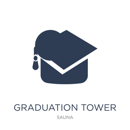 Graduation tower icon. Trendy flat vector Graduation tower icon on white background from sauna collection, vector illustration can be use for web and mobile, eps10 Stock Vector - 112374839