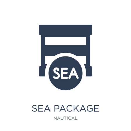 sea Package icon. Trendy flat vector sea Package icon on white background from Nautical collection, vector illustration can be use for web and mobile, eps10 Illustration