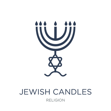 Jewish Candles icon. Trendy flat vector Jewish Candles icon on white background from Religion collection, vector illustration can be use for web and mobile, eps10 Illusztráció