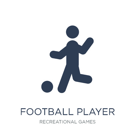 Football player playing icon icon. Trendy flat vector Football player playing icon on white background from Recreational games collection, vector illustration can be use for web and mobile, eps10