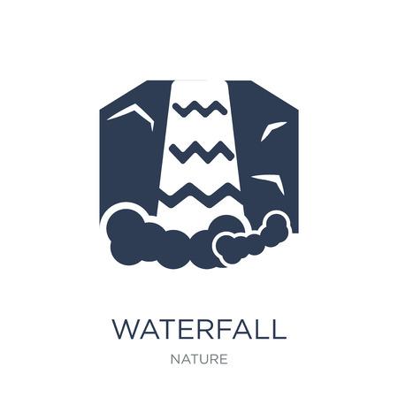 Icono de cascada. Icono de cascada de moda vector plano sobre fondo blanco de la colección de la naturaleza, Ilustración de vectores se puede utilizar para web y móvil, eps10