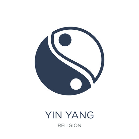 Yin Yang icon. Trendy flat vector Yin Yang icon on white background from Religion collection, vector illustration can be use for web and mobile, eps10  イラスト・ベクター素材