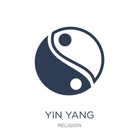 Yin Yang icona. Icona di Yin Yang piatto vettoriale su priorità bassa bianca da collezione religione, illustrazione vettoriale può essere utilizzato per il web e mobile, eps10