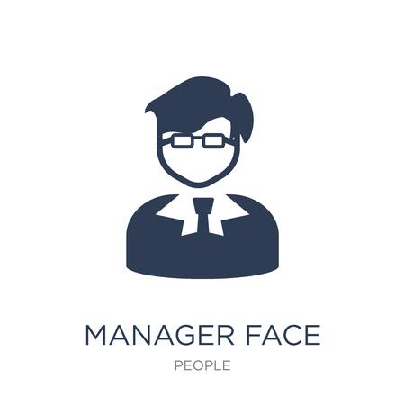 Icône de visage de gestionnaire. Icône de visage de gestionnaire vecteur plat sur fond blanc de la collection People, illustration vectorielle peut être utilisé pour le web et mobile, eps10 Vecteurs