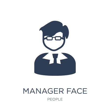Manager face icon. Trendy flat vector Manager face icon on white background from People collection, vector illustration can be use for web and mobile, eps10 Vektorové ilustrace