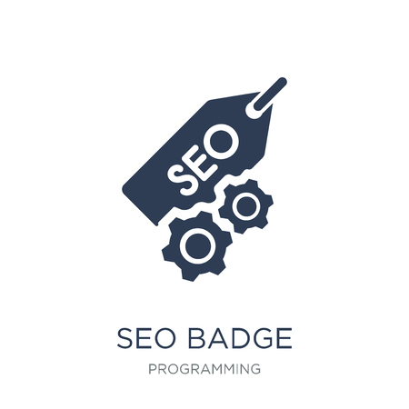 SEO Badge icon. Trendy flat vector SEO Badge icon on white background from Programming collection, vector illustration can be use for web and mobile, eps10 Illustration