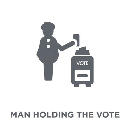 Man holding the vote paper on the box icon. Man holding the vote paper on the box design concept from Political collection. Simple element vector illustration on white background.