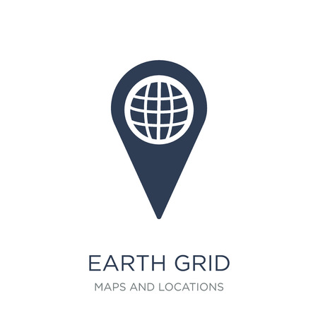 Earth grid icon. Trendy flat vector Earth grid icon on white background from Maps and Locations collection, vector illustration can be use for web and mobile, eps10