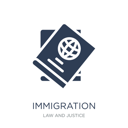 immigration icon. Trendy flat vector immigration icon on white background from law and justice collection, vector illustration can be use for web and mobile, eps10 Stock Illustratie