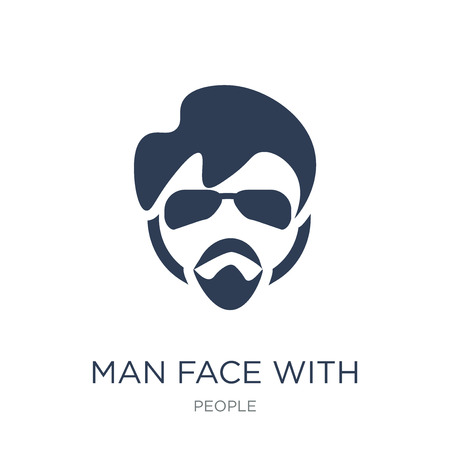 Man face with glasses and goatee icon. Trendy flat vector Man face with glasses and goatee icon on white background from People collection, vector illustration can be use for web and mobile, eps10 Illustration