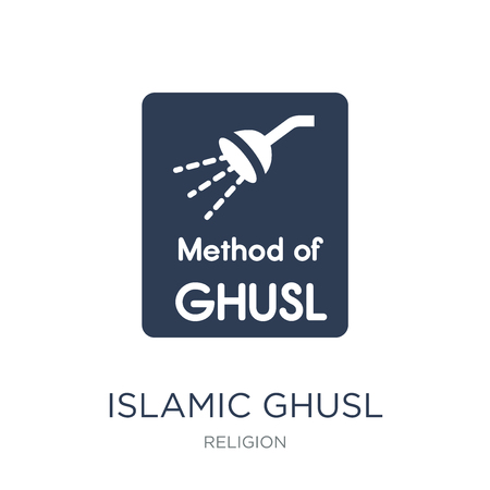 Islamic Ghusl icon. Trendy flat vector Islamic Ghusl icon on white background from Religion collection, vector illustration can be use for web and mobile, eps10 Standard-Bild - 112414927