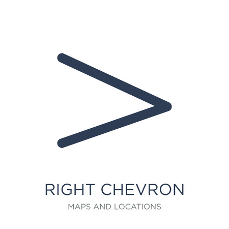 Right chevron icon. Trendy flat vector Right chevron icon on white background from Maps and Locations collection, vector illustration can be use for web and mobile, eps10 Banque d'images - 112414930