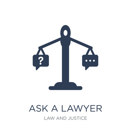 ask a lawyer icon. Trendy flat vector ask a lawyer icon on white background from law and justice collection, vector illustration can be use for web and mobile, eps10 Ilustracja