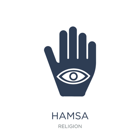 Hamsa icon. Trendy flat vector Hamsa icon on white background from Religion collection, vector illustration can be use for web and mobile, eps10