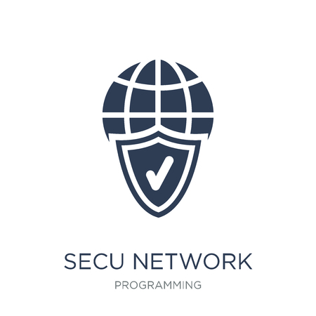 Secured network icon. Trendy flat vector Secured network icon on white background from Programming collection, vector illustration can be use for web and mobile, eps10