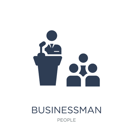 Businessman Giving a Lecture icon. Trendy flat vector Businessman Giving a Lecture icon on white background from People collection, vector illustration can be use for web and mobile, eps10 Иллюстрация