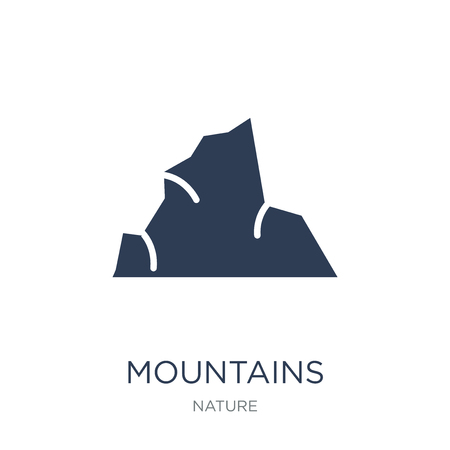 Mountains icon. Trendy flat vector Mountains icon on white background from nature collection, vector illustration can be use for web and mobile, eps10 Ilustração