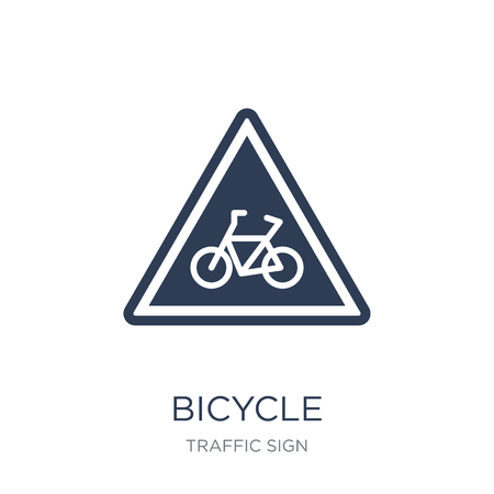 Bicycle sign icon. Trendy flat vector Bicycle sign icon on white background from traffic sign collection, vector illustration can be use for web and mobile, eps10