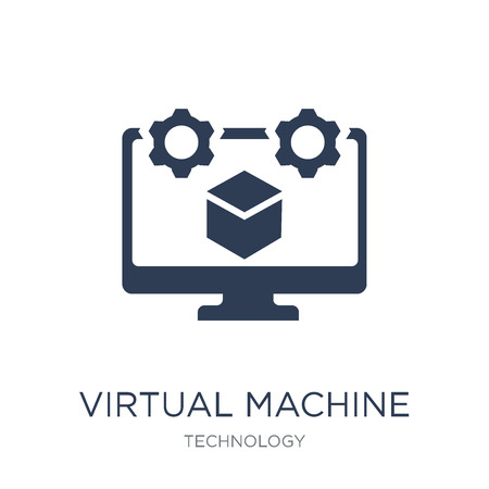 Icono de máquina virtual. Icono de máquina virtual de moda vector plano sobre fondo blanco de colección de tecnología, Ilustración de vectores se puede utilizar para web y móvil, eps10
